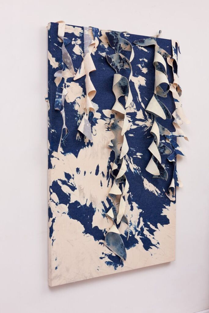 Jansana Pablo _ Canvas on paint _ 2017 _ Bleach denim on bleach denim strech canvas _ 62 x  35 in. jpeg.jpeg