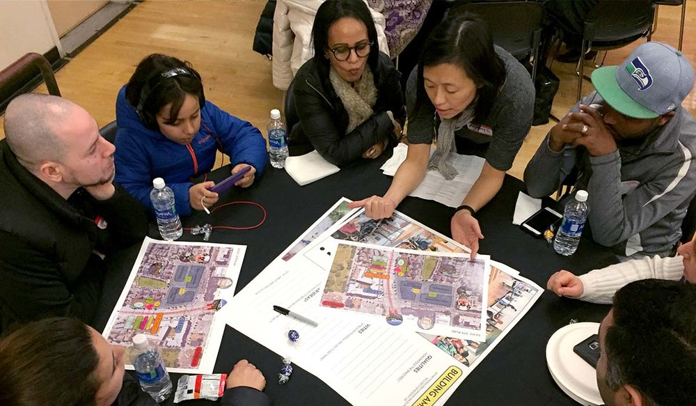 Othello residents working with SKL Architects during Community Meeting #5 at New Holly Gathering Hall, March 2018 [Image: HomeSight]