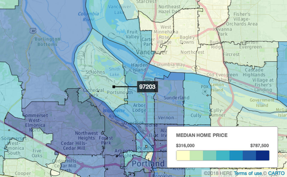 1.  St. Johns/Portsmouth, Portland  In the 97203 ZIP code, there were 150 sales. Homes spent an average of 22 days on the market, and the median sale price was $378,125, down 0.5 percent from $380,000 a year earlier.
