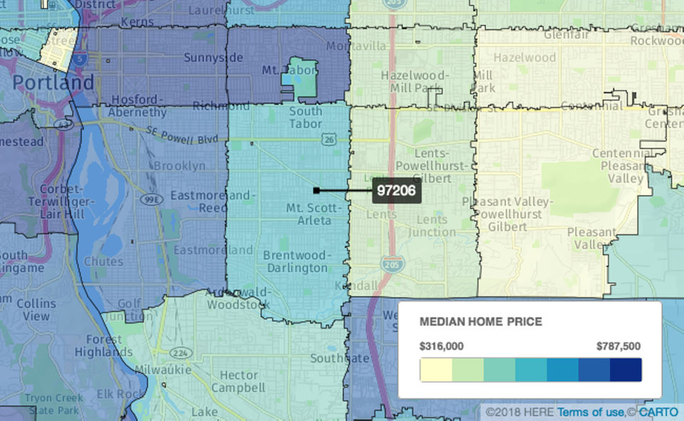 Foster-Powell/Woodstock, Portland  In the 97206 ZIP code, there were 254 sales. Homes spent an average of 23 days on the market, and the median sale price was $399,000, down 0.7 percent from $402,000 a year earlier.