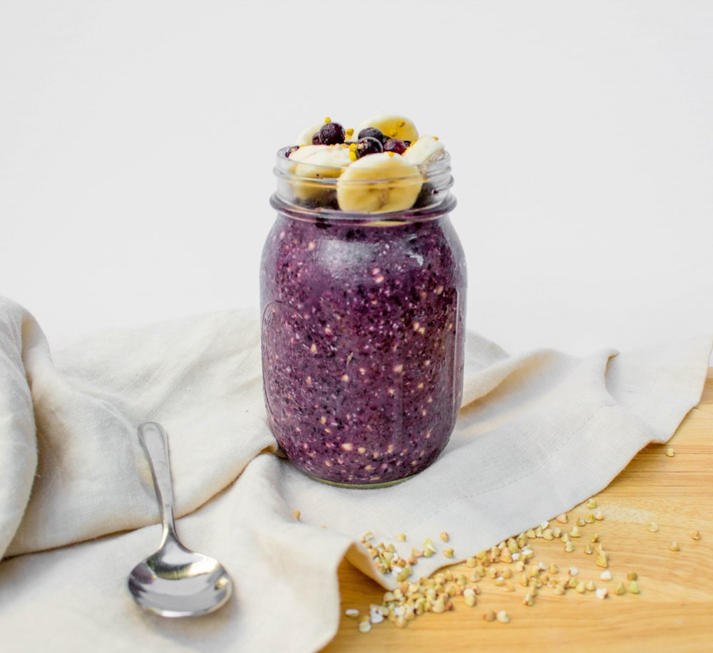 purple overnight oats in jar