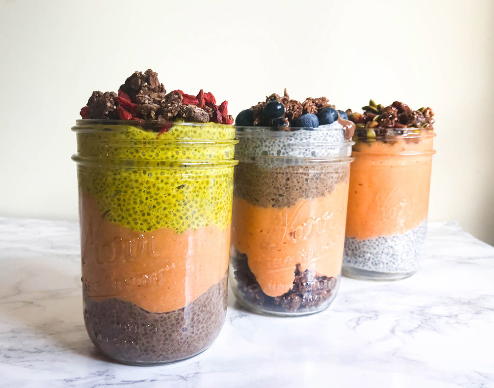 Colorful chia smoothies