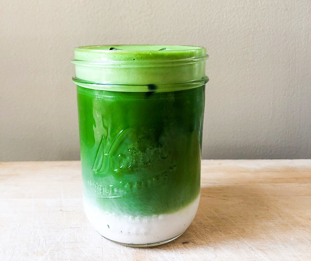 bright green iced matcha latte