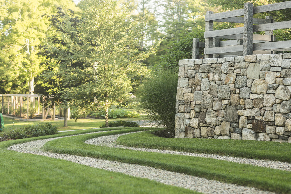 Gravel path + Stone wall  Cider Ridge Farm Wilton, CT