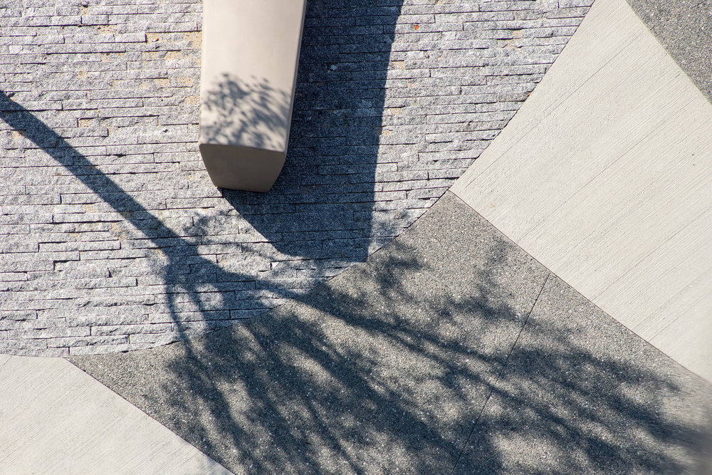 Exposed Concrete + Granite Pavers  NEU ISEC Boston, MA