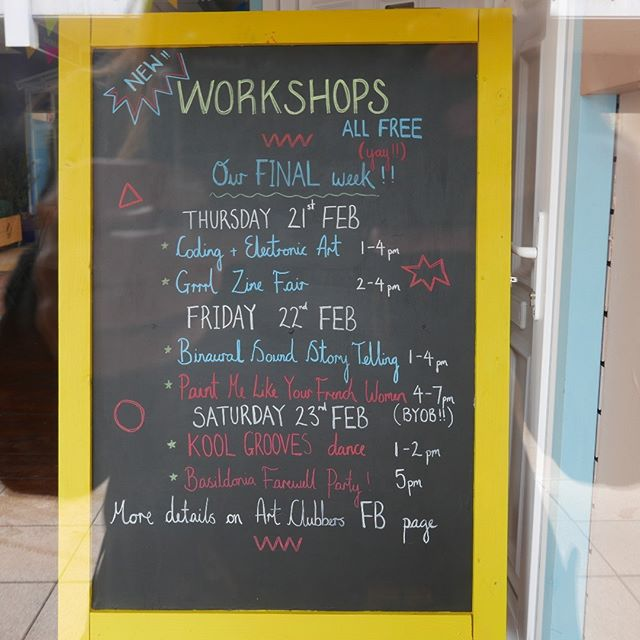 @art_clubbers are in town for just one more week, and they have loads of things lined up...drop in and say hello they are a lovely bunch! 17 - 19 Eastwalk, near Natwest and opposite Greggs :-) THURSDAY 21ST FEB Coding and Electronic Art WITH @marylynmolisso - 1PM  @grrrlzinefair ! - 2PM  FRIDAY 22ND FEB Binaural Sound Story telling WITH @doughty.matt - 1PM Paint me like your French Women WITH @ajay_pabial - 4PM  SATURDAY 23RD FEB Kool Grooves WITH @jordanbarr3 - 1PM