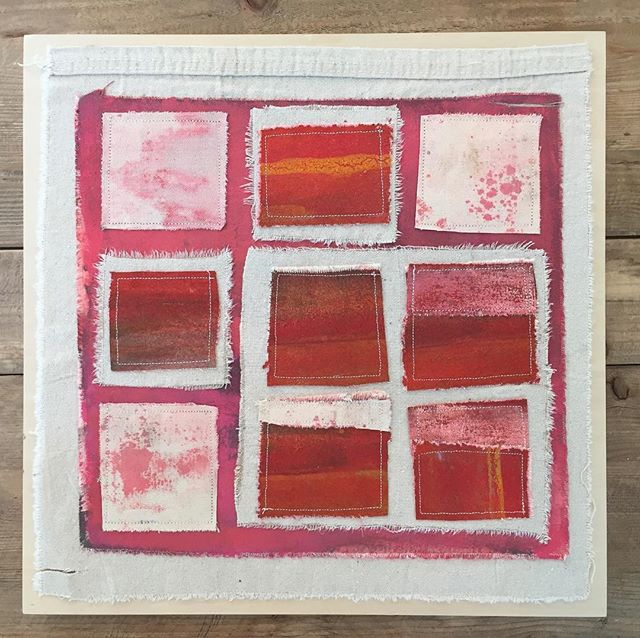 14 Squares #mixedmedia #acrylicpainting #quilt  #geometricart #mostlyred #art #artist #contemporaryart #gallery #sewn #canvas #collage #fabric #abstractart #abstractartist #square #walldecor #interiordesign #design #upcycled #salvaged #artgallery