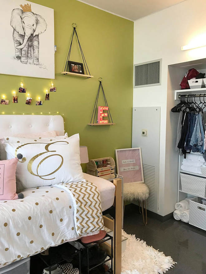 www.JadoreLeDecor.com   A real life example of how one family teamed up to help their student create a dorm room that is totally #snatched (that means cool). #dormlife   Small space living   College Dorms