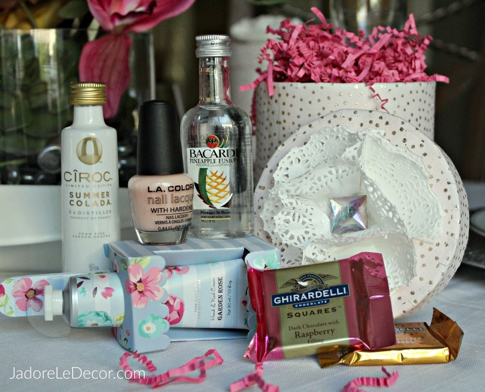 www.JadoreLeDecor.com | Wow your besties with this DIY Nails & Cocktails gift box filled with lots of goodies!  Perfect for a Girls-Night-In. | Gifts | DIY | Entertainment
