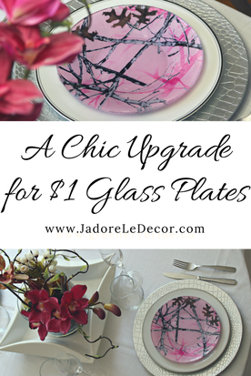 www.JadoreLeDecor.com | See how I upgraded a set of $1 plates for a beautiful table arrangement. | Dollar Tree DIY | DIY Plates