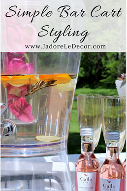 www.JadoreLeDecor.com | simple, small bar cart styling for a ladies' night in. | Bar Cart Styling