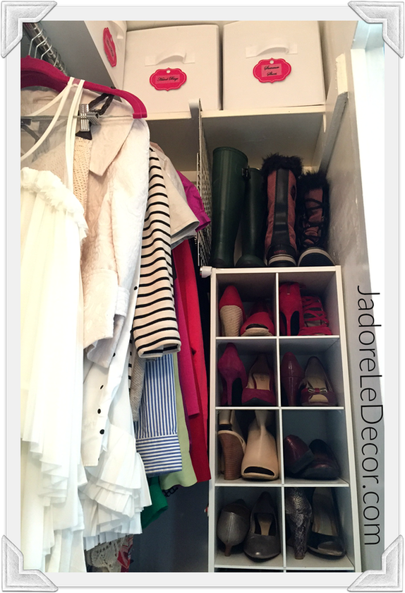 "www.JadoreLeDecor.com | Tips for organizing what is probably tiniest, darkest ""room"" in the home- the closet 