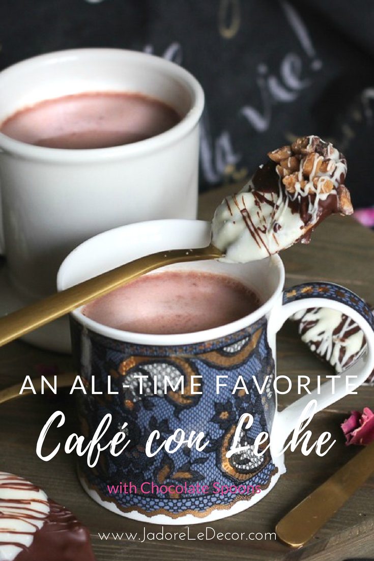 Small Space Entertaining | How to Make Café con Leche with Chocolate Spoons | www.JadoreLeDecor.com | sweet coffee treats, small gifts for guests