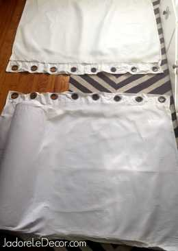 www.JadoreLeDecor.com |Learn how to make a no-sew bolster cover from a pair of curtains.