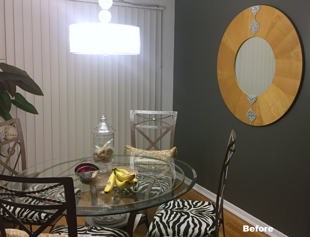 www.JadoreleDecor.com | Zebra shades offer a more exciting kind of treatment for sliding glass doors.| Dining room makeover #selectblinds #oneroomchallenge #orc2018 #jadoreledecor
