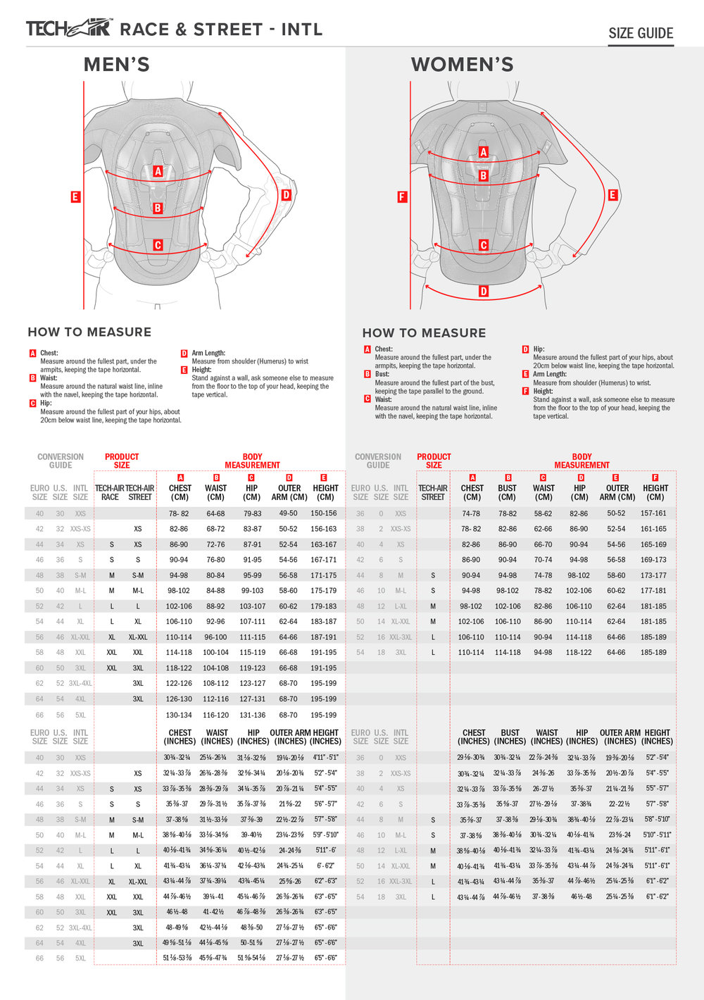 TECH AIR AIRBAG SIZING