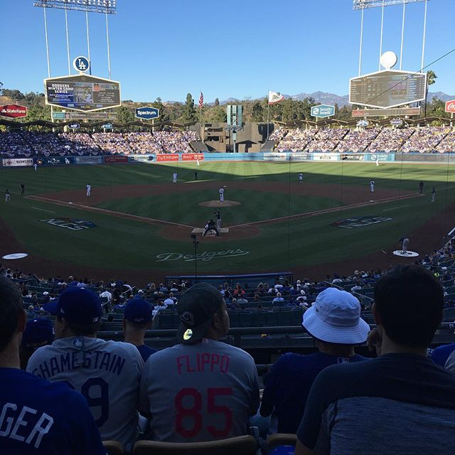 Taking a break from the motorcycles watch the Dodgers Go Blue! I