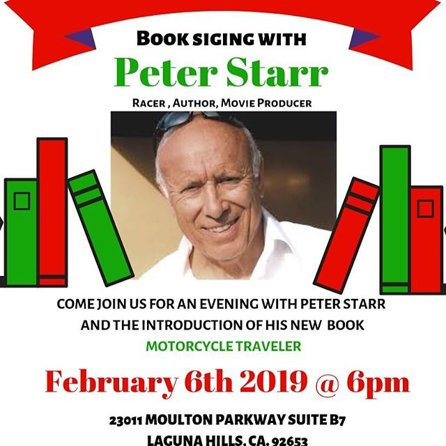 Save the date Superbike Corse is pleased to host book signing Peter Starr's Motorcycle Traveler. All are invited to this event. See you there!