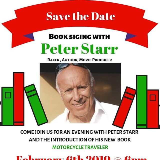 Motorcycle Traveler Book 📖 signing come and meet Hall of famer Peter Starr