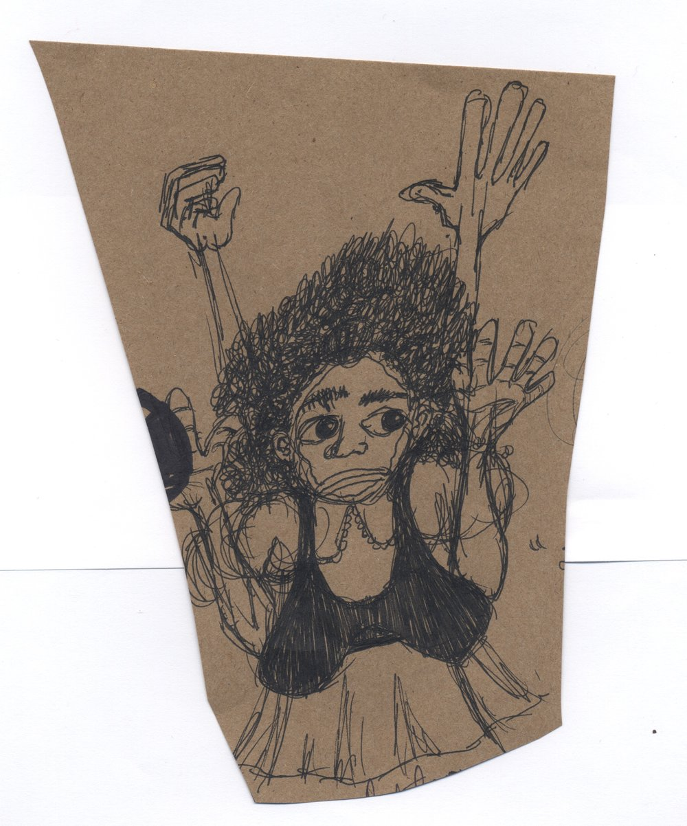 I didn't do it  pen & ink on kraft paper 2011