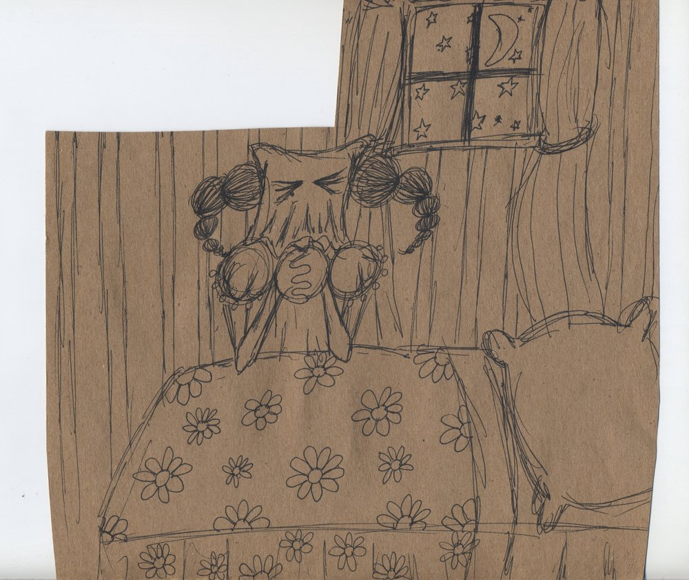 I wish I may, I wish I might  pen & ink on kraft paper 2011