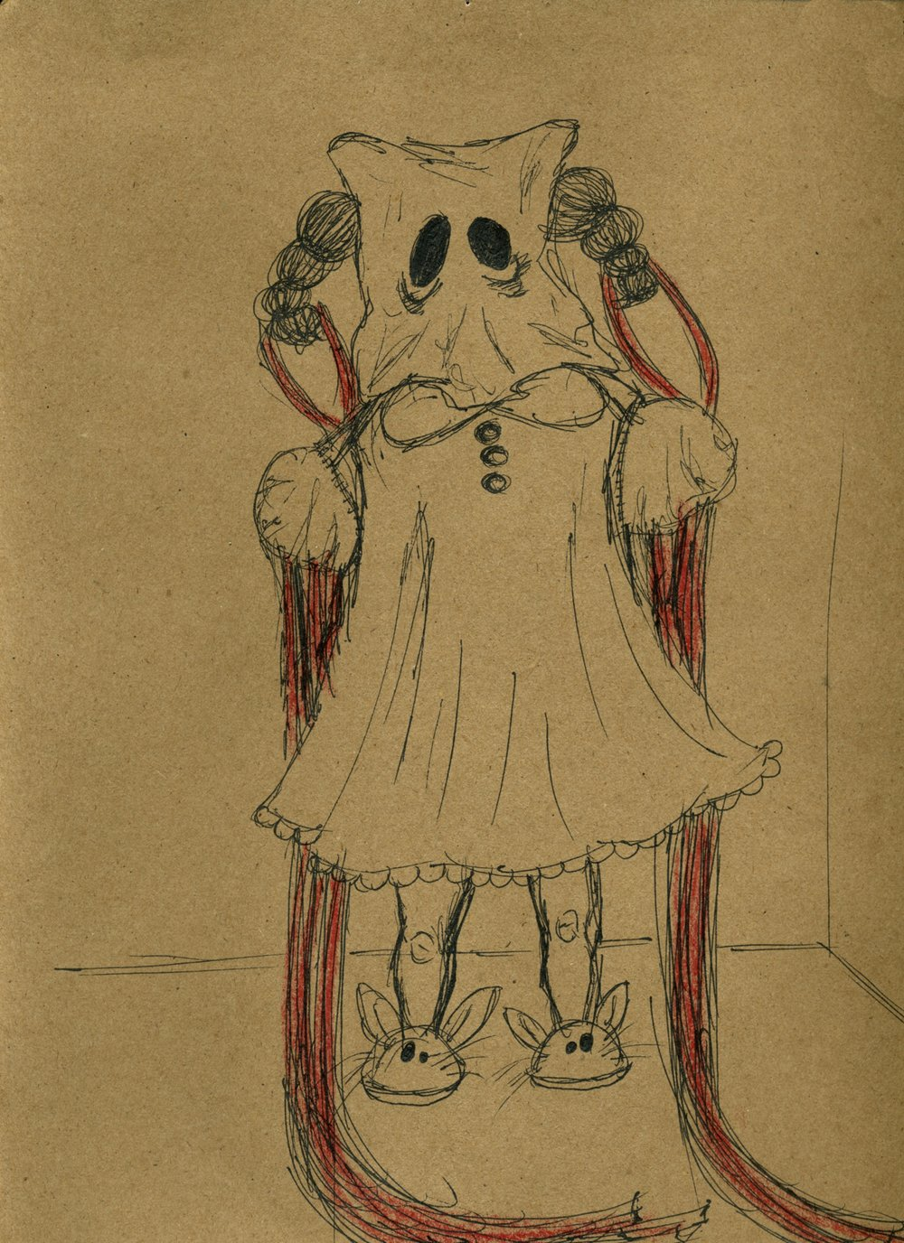 sleepwalker  pen & ink on kraft paper 2009