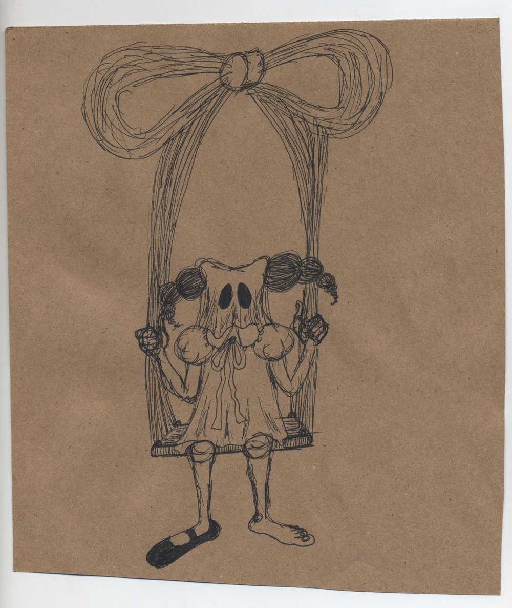 some sit others stand  pen & ink on kraft paper 2011