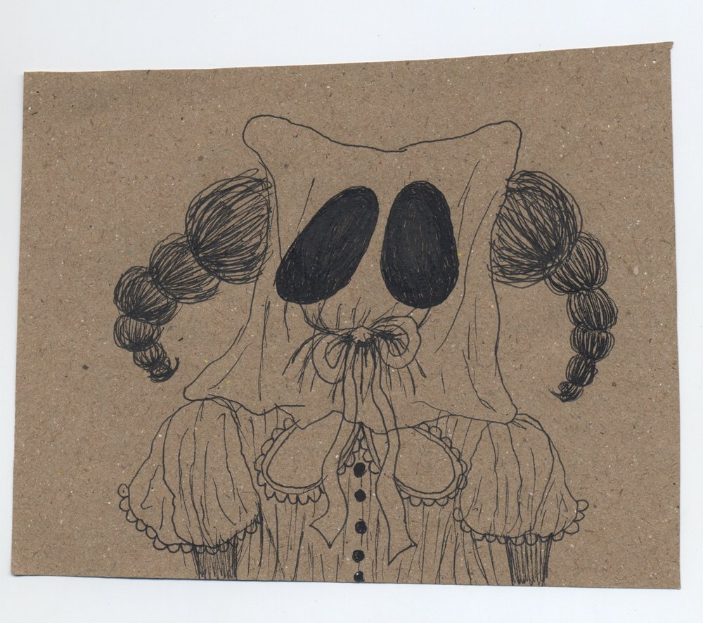 when ghosts speak  pen & ink on kraft paper 2010