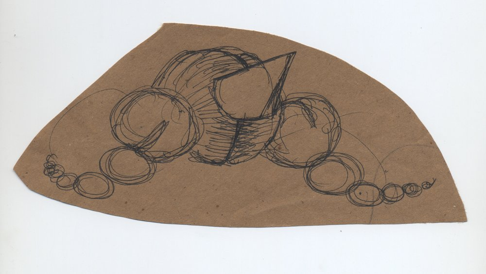watching, waiting  pen & ink on kraft paper 2010