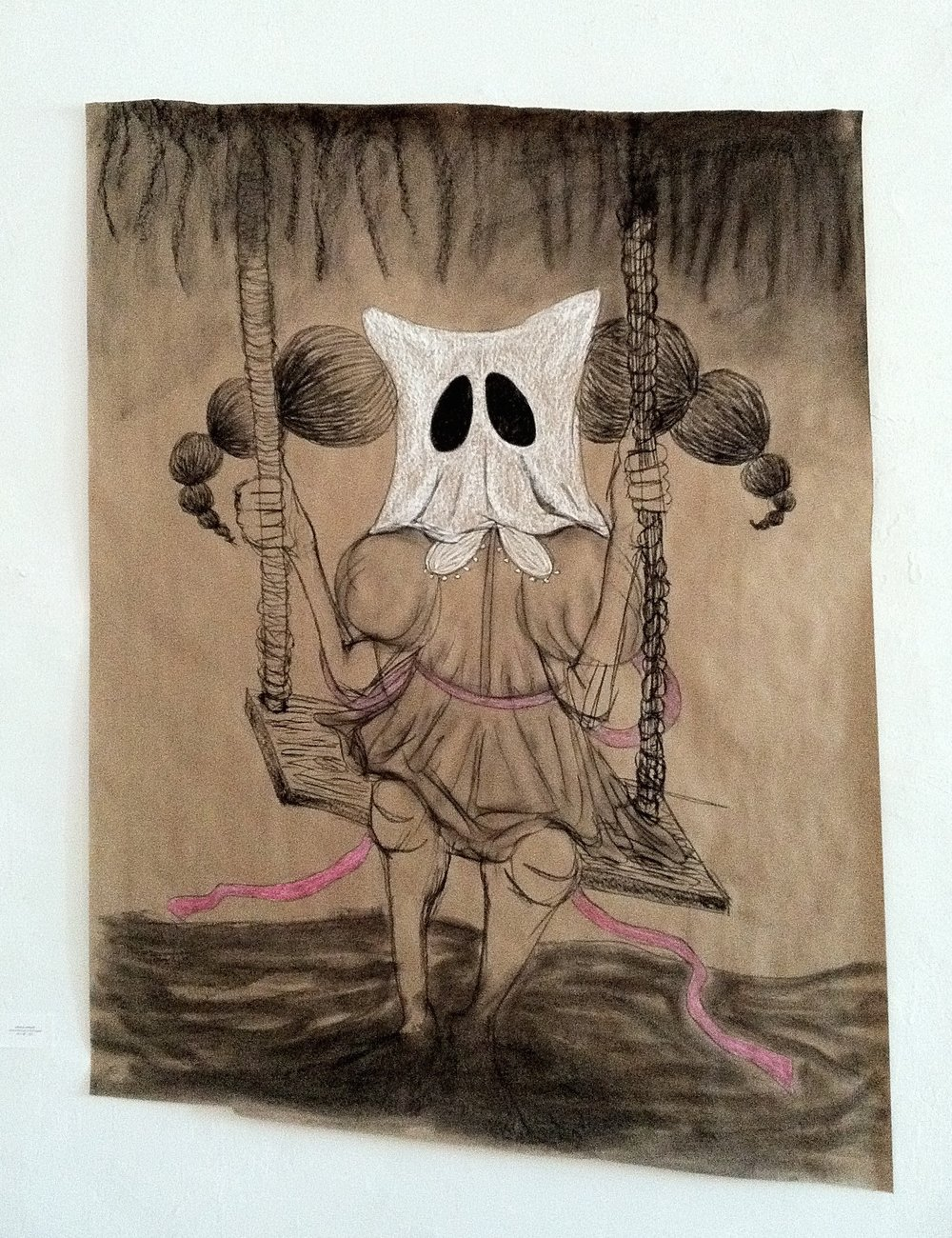 swing lo, sing hi  charcoal/conte on kraft paper 2011