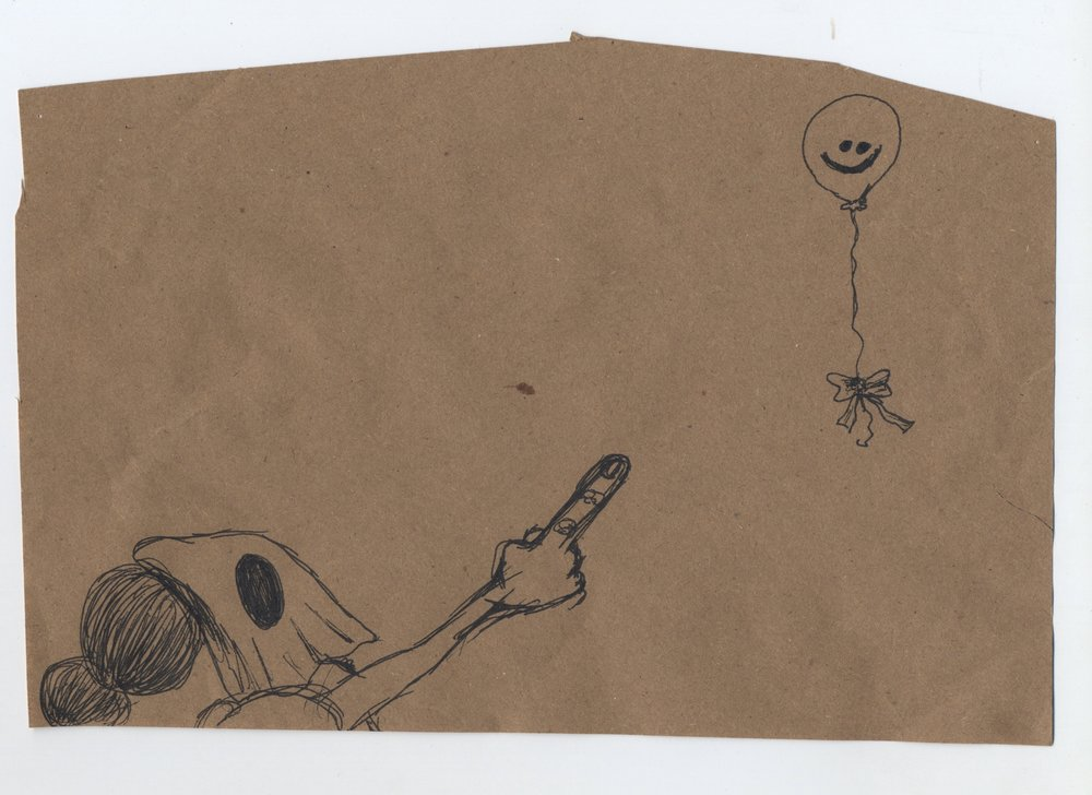red balloon  pen & ink on kraft paper 2011