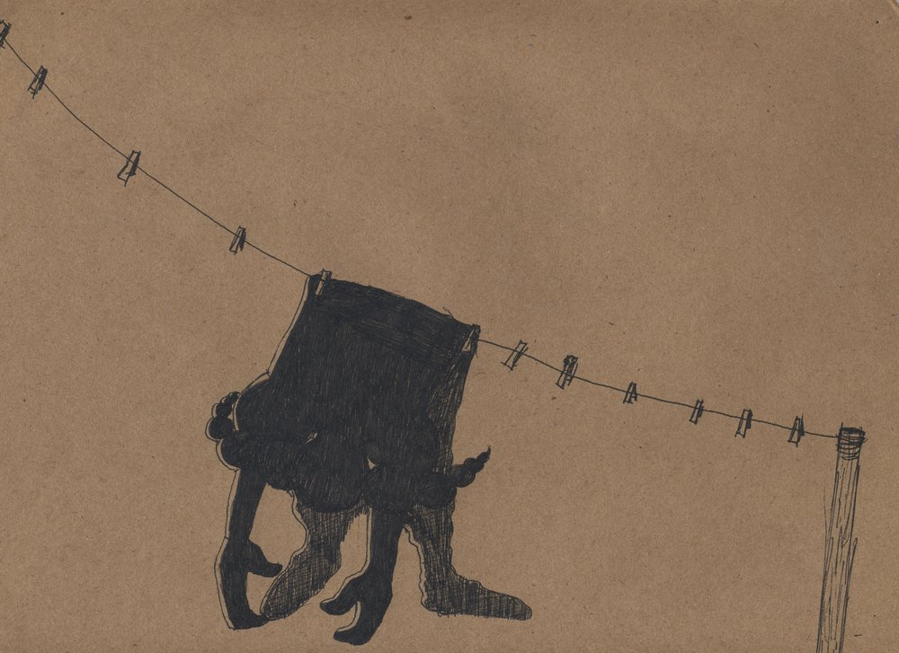 dirty laundry  pen & ink on kraft paper 2011