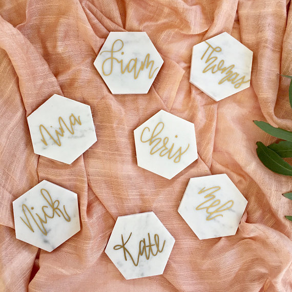 Palms and Paper_Marble Tile place card