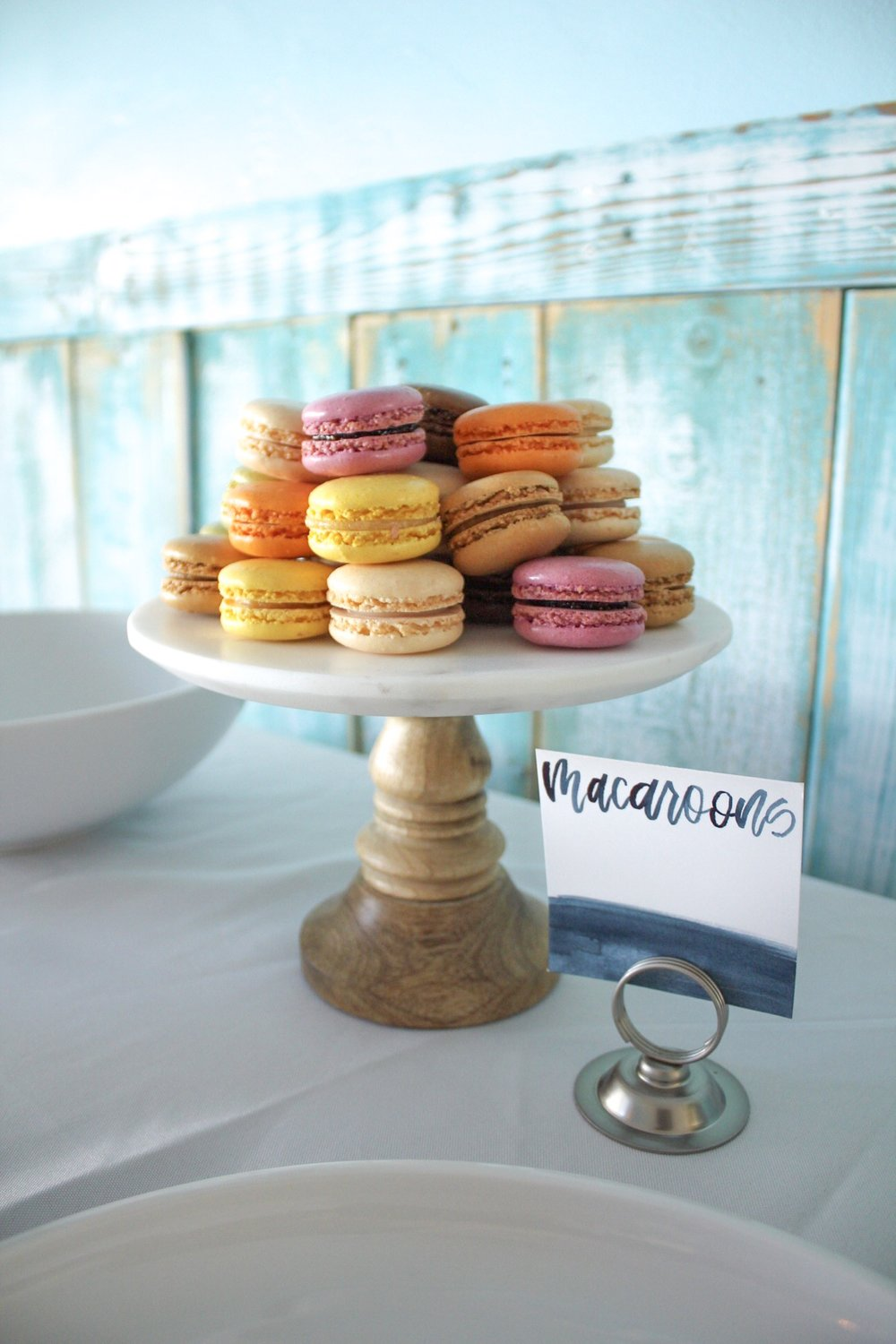 baby sprinkle macaroons and watercolor calligraphy food cards