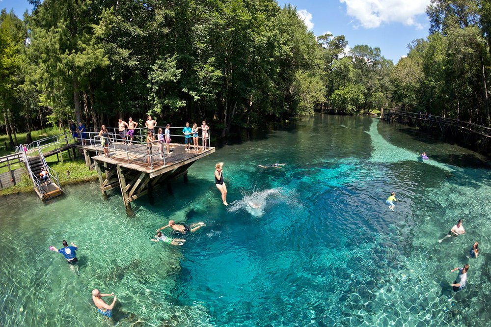 Visitors jump into Gilchrist Blue, which is a second- magnitude spring that discharges north into the Santa Fe River.Photo by JOHN MORAN