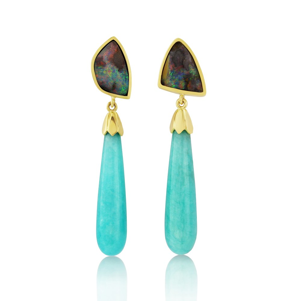 Australian boulder opals with amazonite in 18ct gold stunning earrings these really beautiful and simple.