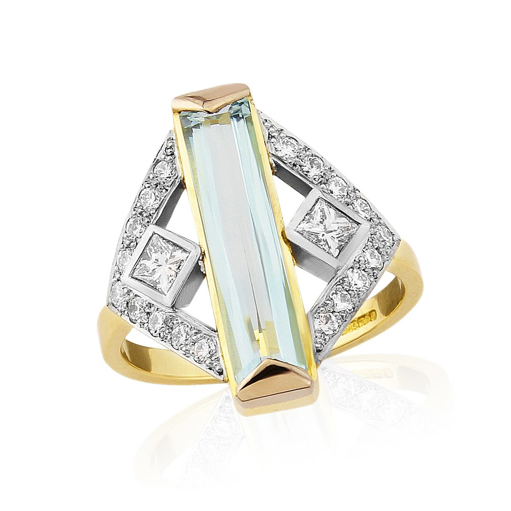 Aquamarine and diamond dress ring with art deco influences truly stunning bagett cut aqua of approx 2.5cts