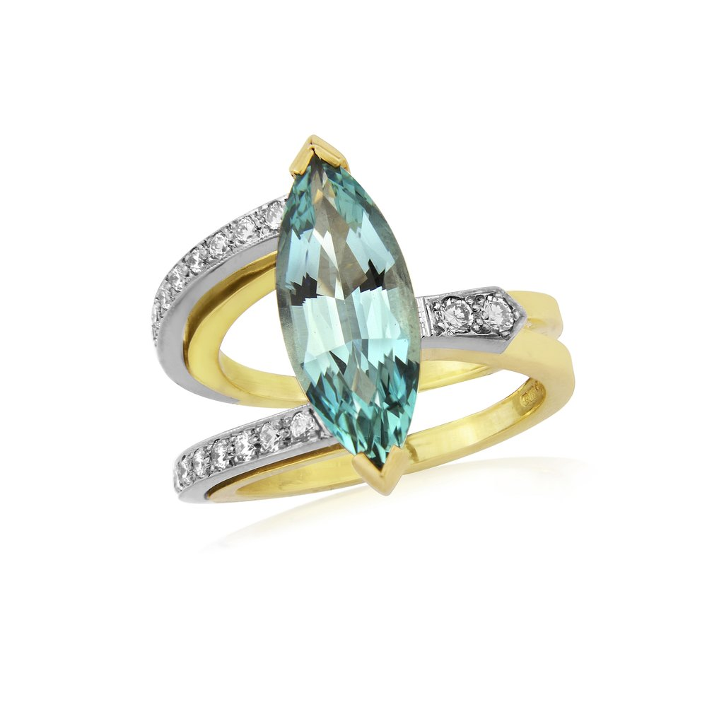 Aquamarine and Diamond dress ring in 18ct yellow and white gold. This ring is stunning, the aquamarine has been diamond cut and the colour is amazing just what it should be  Aqua is 3.0ct  Diamond fvvs approx weight 0.35ct  ring size N1/2  THIS RING CANNOT BE SIZED  AVAILABLE