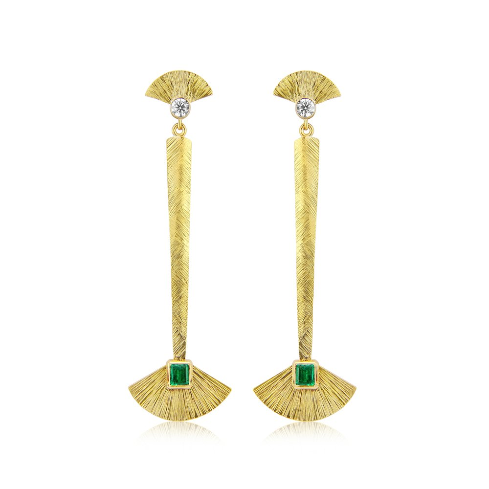 Very dramatic 18ct gold drop earrings in a nod to egyptian style with colombian emeralds and diamonds ,hand fabricated and pattern applied  diamonds fvvs 0.30ct  emeralds 0.50ct  these are approx 70mm long.