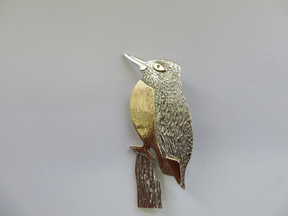 Silver and 9ct gold kingfisher brooch for a regular client fashioned as a brooch