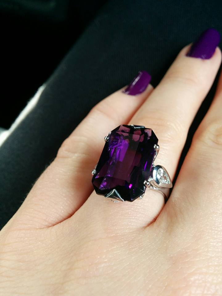 Clients own design as close as possible in 18ct white gold, with an incredible amethyst I purchased by chance, a stunning african stone  approx 11ct with pearshape diamond accents fvvs 0.25ct