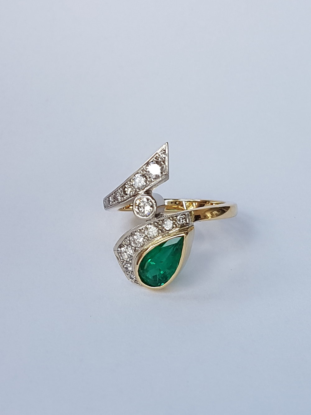 We sourced this lovely emerald just over 2.0ct and set it into QVJ design for a regular client all 18ct gold clients own diamonds.