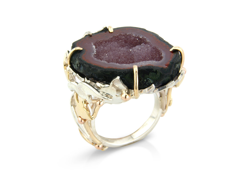 Druzy geode dress ring designed and hand made in silver and gold by QVJ.