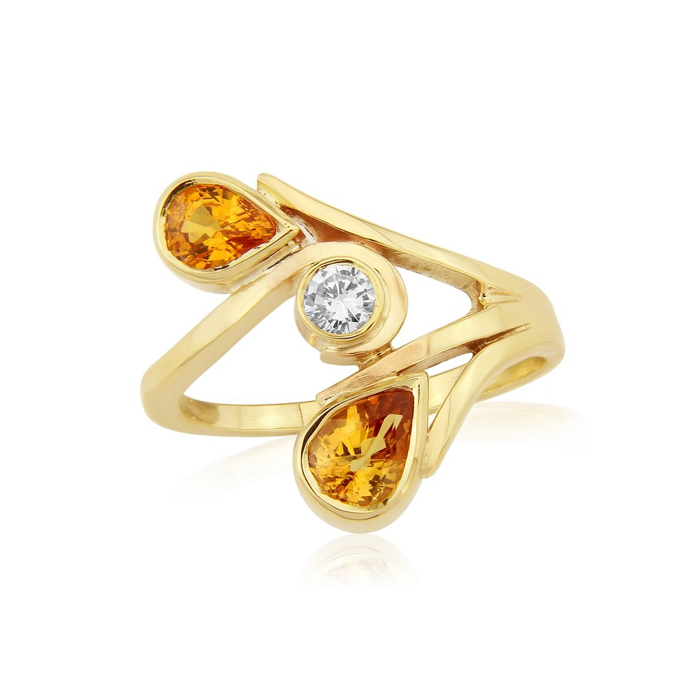 Unusual Orange Sapphires with a Diamond in spray style dress ring hand made by QVJ in 9ct Gold.  AVAILABLE