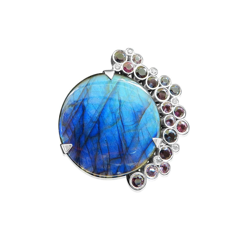 Large Labradorite brooch/pendant designed and handmade by QVJ in Silver and set with some really nice coloured Spinels.