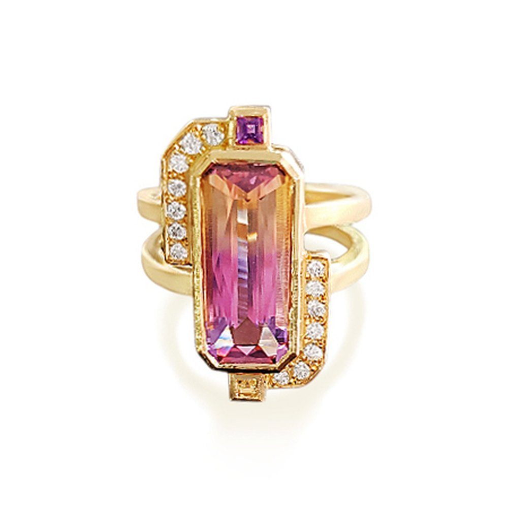Beautiful Ametrine and Diamond dress ring hand made in 18ct Gold