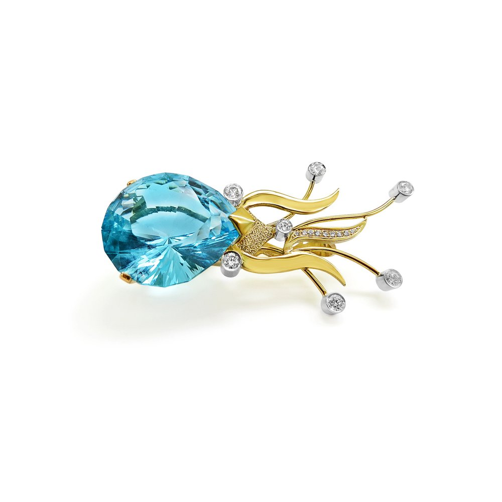 Top quality London Blue Topaz (this is a Big stone) Brooch/Pendant set with Diamonds ,hand made by QVJ in 18ct Gold.