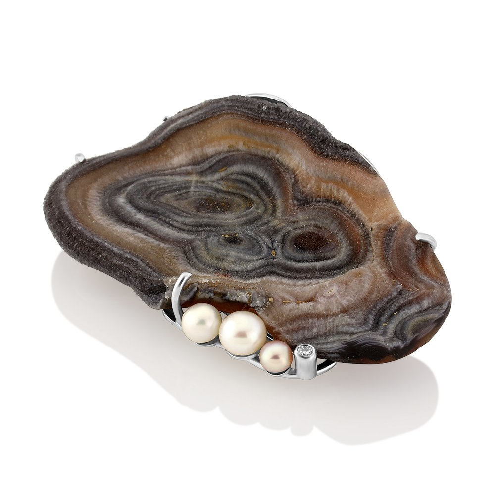 A large natural Chalcedony Druzy with freshwater pearl and Diamond, double pin on the back with a Fancy hand pierced back .  AVAILABLE