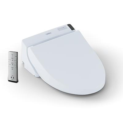 WASHLET® C200    循環ムーブとマッサージ機能、微風、温水、デュアルアクションスプレー付き。水温と水量の調整が可能。5つの温度設定による温風乾燥機能、自動脱臭機能付き。ワイヤレスリモコン付き。トイレットボウルを綺麗に保つプレミスト機能搭載