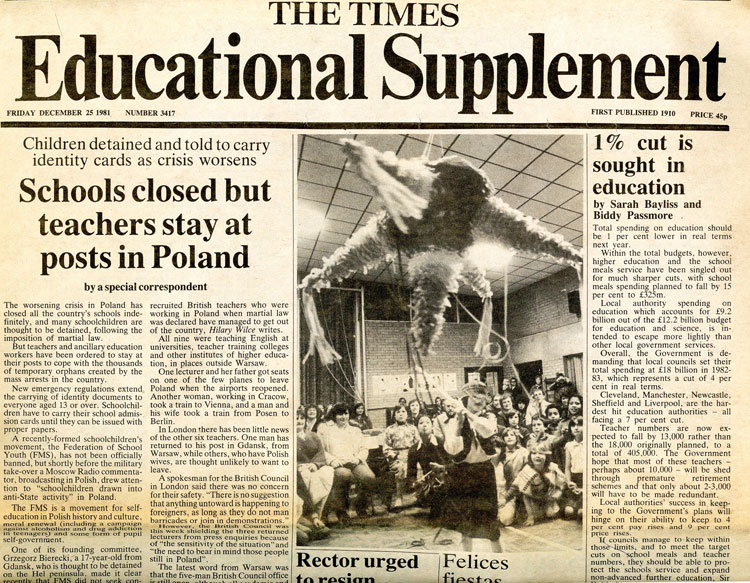 Mum has been making piñatas here in London for decades. Check her out here in this cutting in the Times Educational Supplement from 1981 showing mum running a piñata session in a school in Bexley.